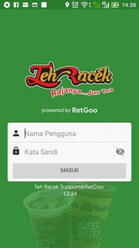 Mobile App: Teh Racek Indonesia Login Page